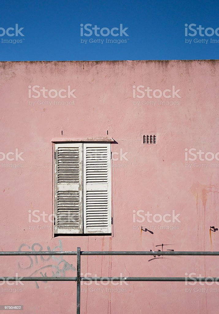Closed, white window shutters royalty-free stock photo