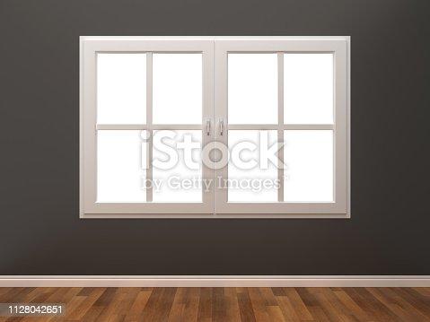 Closed Window in Room - 3D Rendering