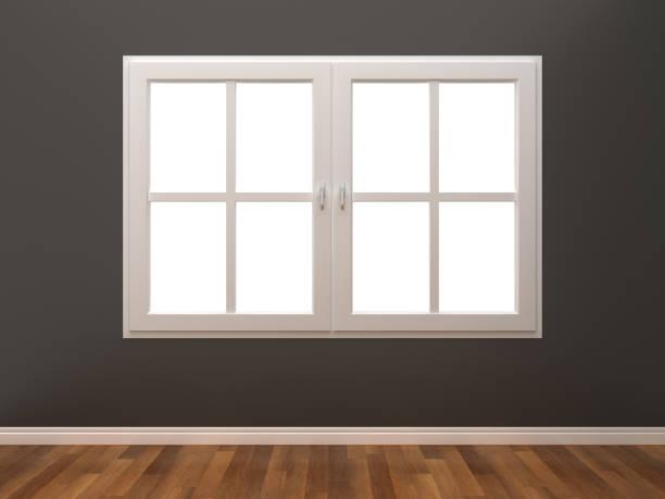 Fenster im Zimmer - geschlossen 3D-Rendering – Foto