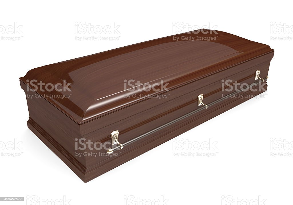 Closed wood coffin with carrying handles stock photo