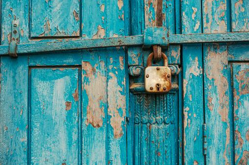 Closed Wood Door with lock