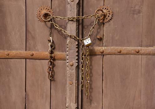 closed wooden door with chain lock