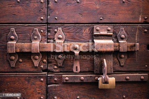 Closed wood lock red wooden door security