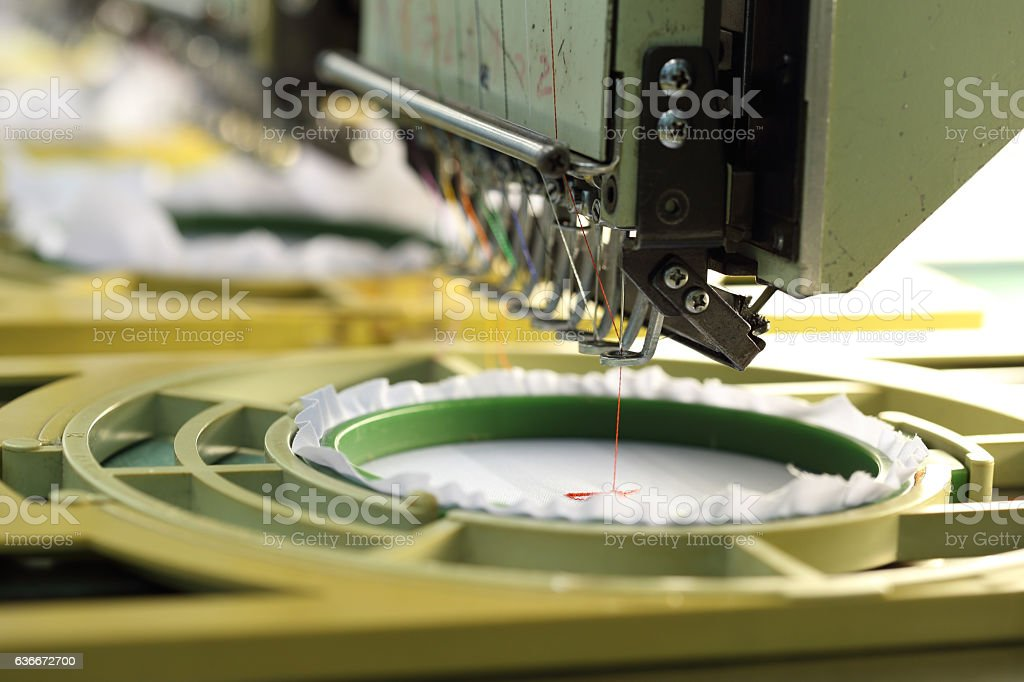 closed-up of Machine embroider stock photo