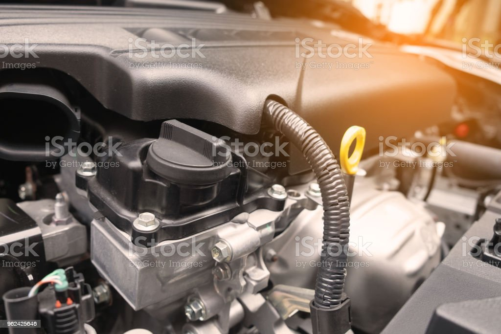 closed-up side view modern car engine stock photo