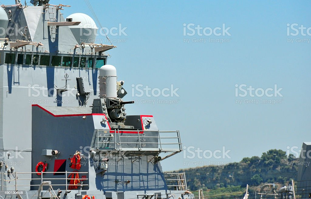 Close-in weapon system on a warship stock photo