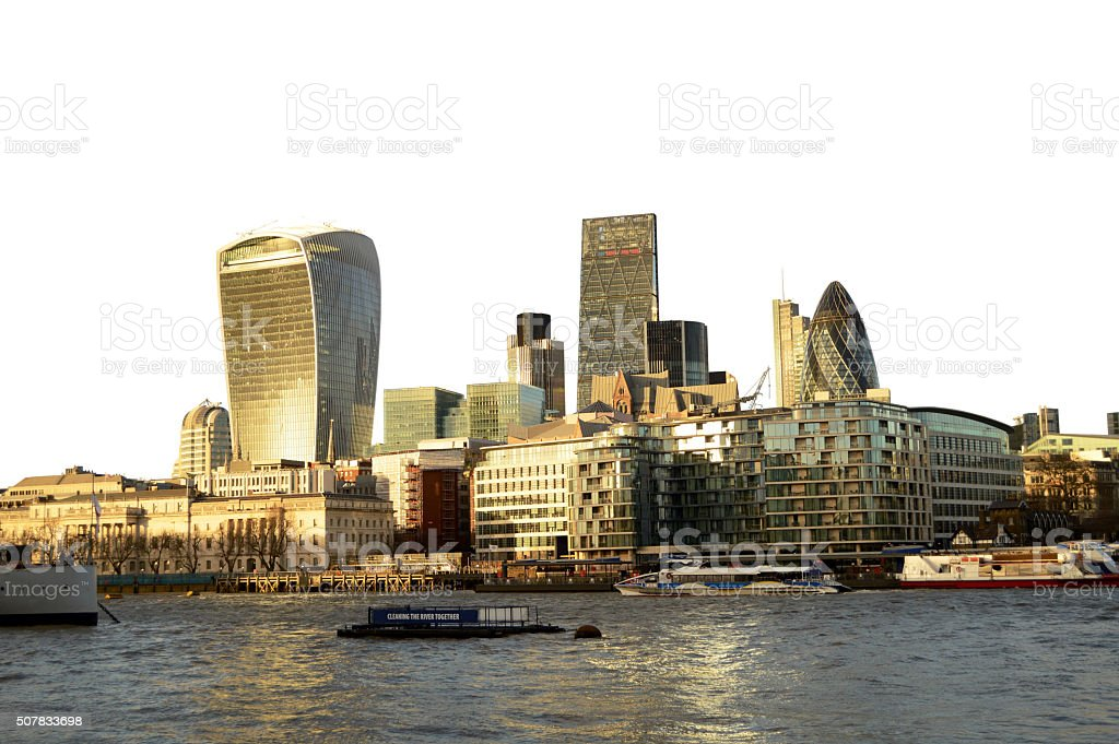 Closely Isolated London skyscrapers skyline view, Thames river stock photo