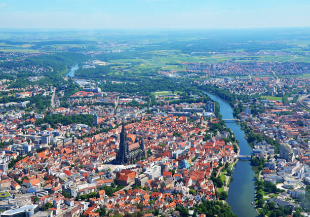 Closer Aerial view of Ulm Minster (Ulmer Münster) and Ulm, south germany on a sunny summer day Aerial view of Germany ulm minster stock pictures, royalty-free photos & images