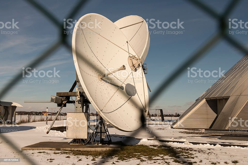 Closer look at a satellite dish stock photo