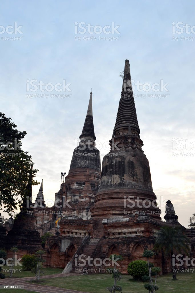 Closer to Ayutthaya Historical park. A UNESCO world heritage filled by temples and Buddha statues stock photo