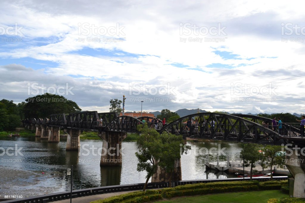 Closer walk to the famous sightseeing spots around Kanchanaburi, Thailand stock photo