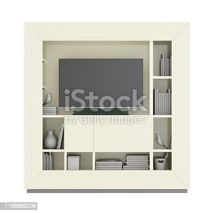 TV closet with baguette, TV and decor on white background. 3d rendering