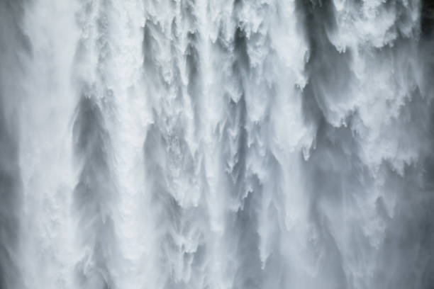 Close-uo of Skogafoss waterfall in Iceland stock photo