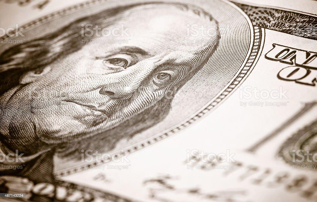 close-up de 100 dólares - foto de acervo