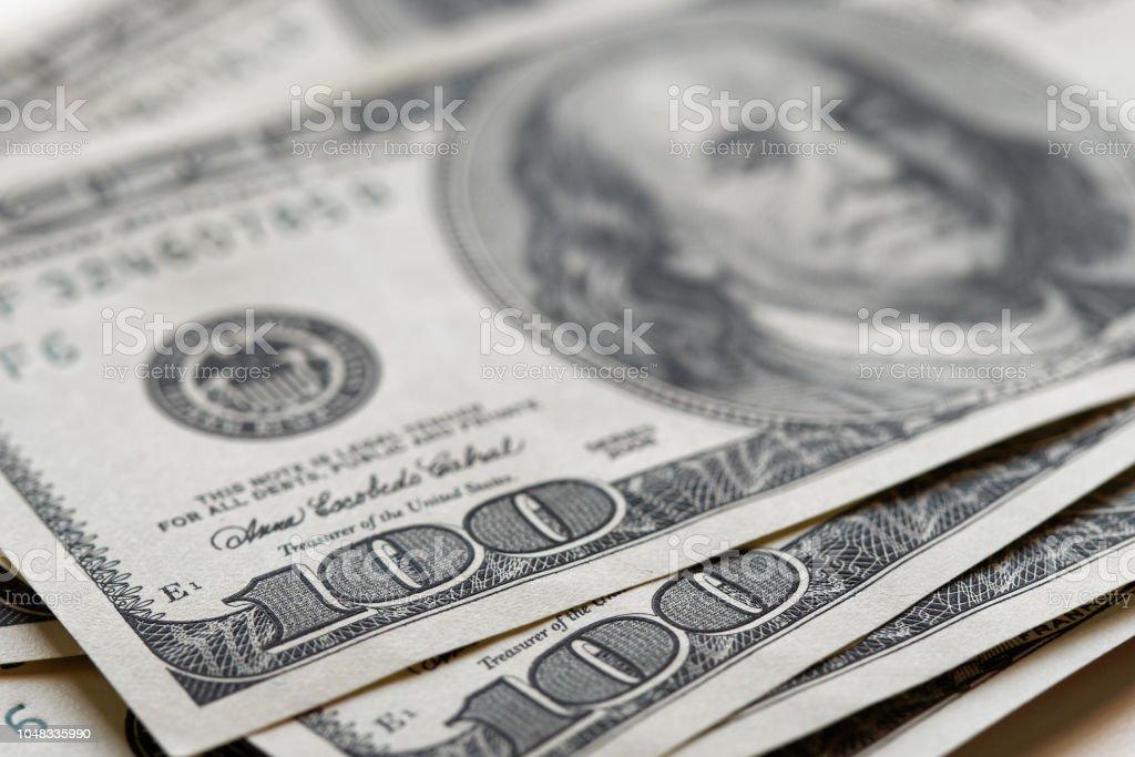 Closeup 100 notas de dólares EUA - foto de acervo