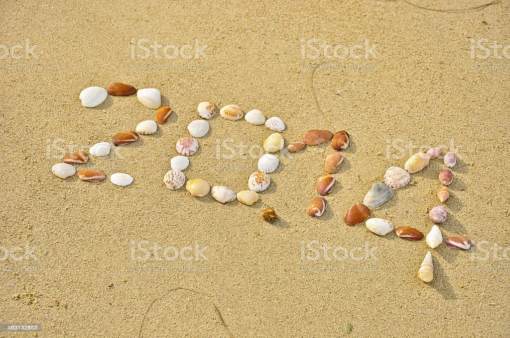 closeup 2014 made of small shell on the sandy beach royalty-free stock photo