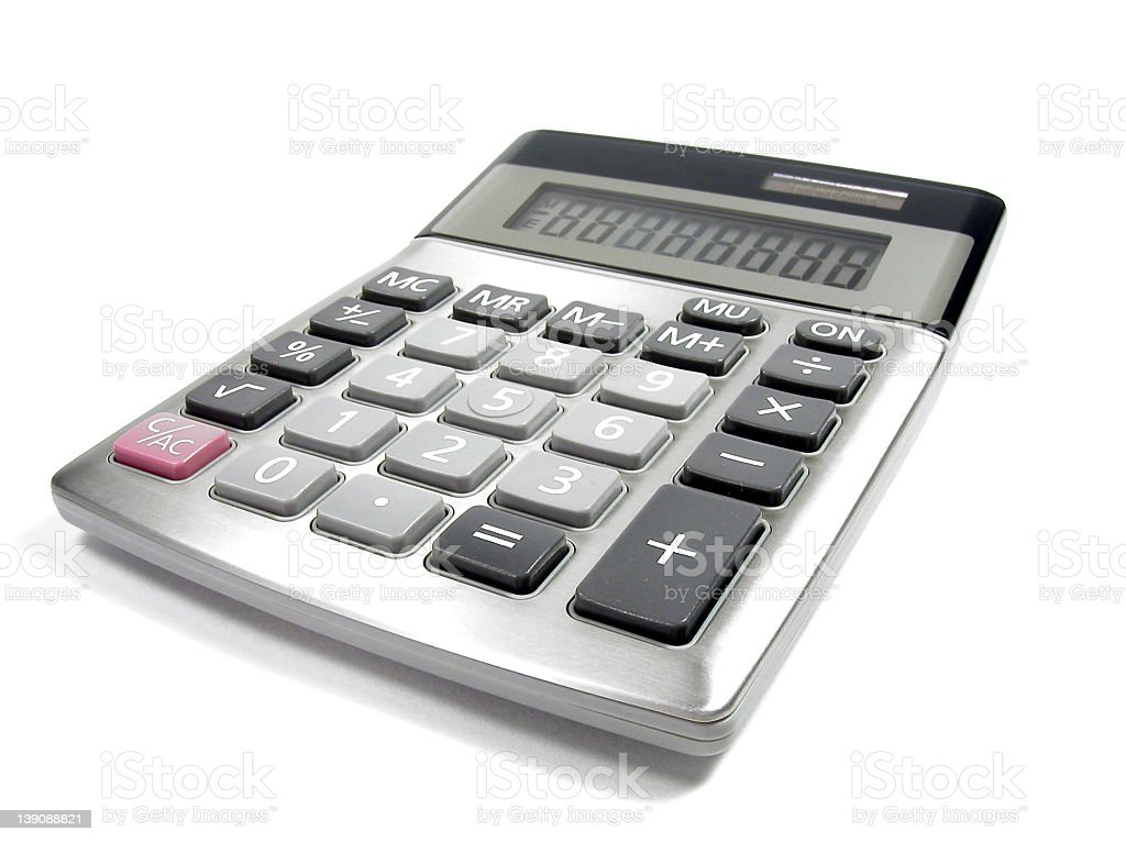 Close-up 3D illustration of a simple calculator stock photo