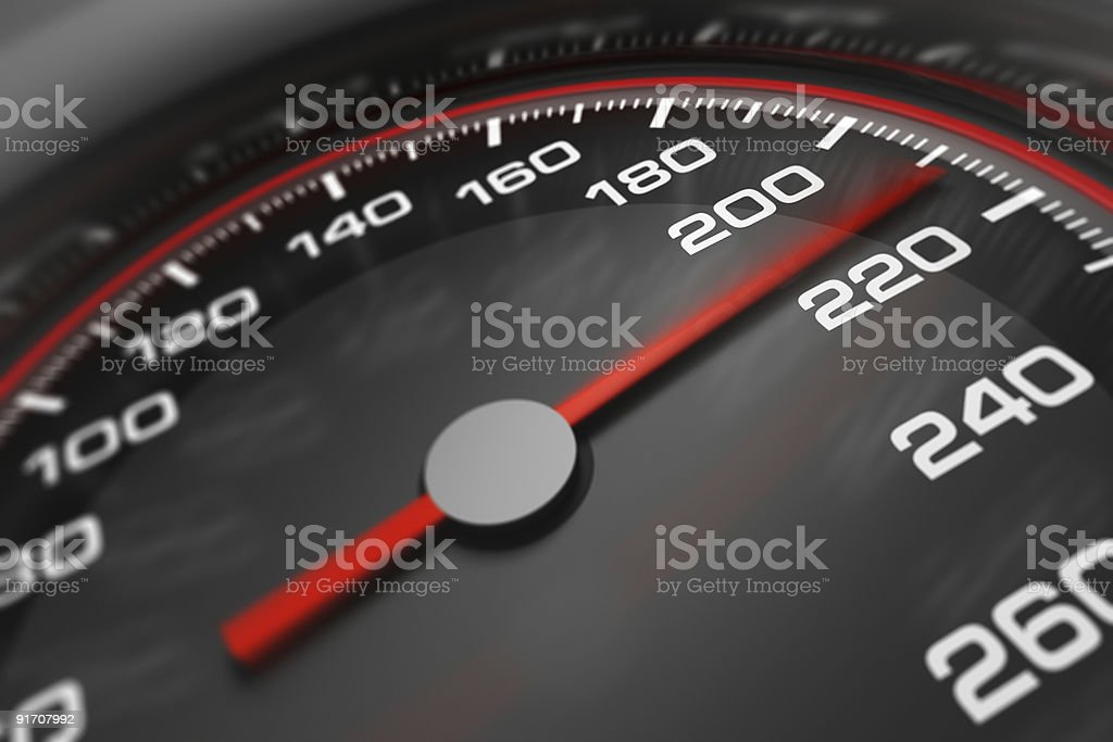Closeup 3D image of a speedometer in black, red, and white royalty-free stock photo