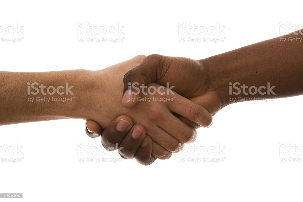 Close-up a handshake against a white background royalty-free stock photo