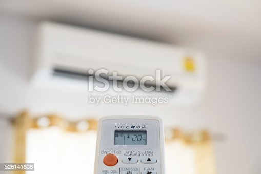 istock Close-up air condition remote, controlling temperature 526141608