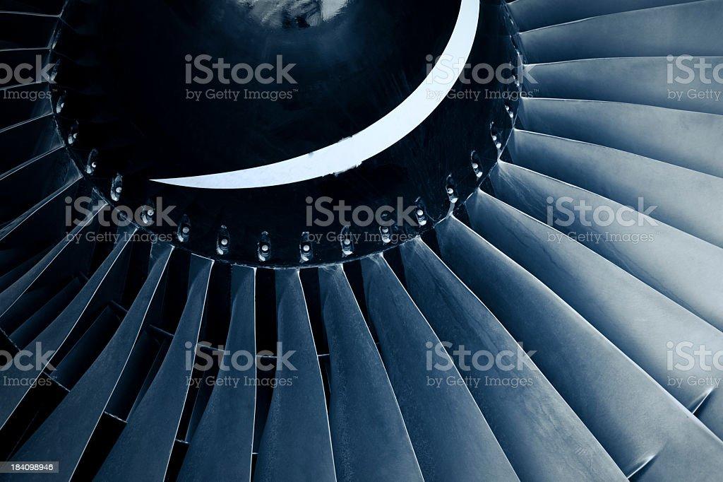 Close-up aircraft jet engine turbine stock photo