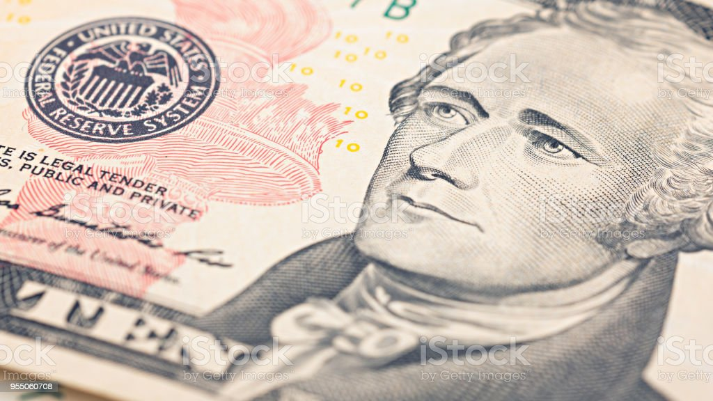 Closeup American Money Twenty Dollar Bill Alexander Hamilton