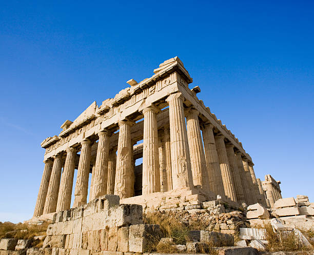 Close-up angled view of the Parthenon at Acropolis, Athens stock photo