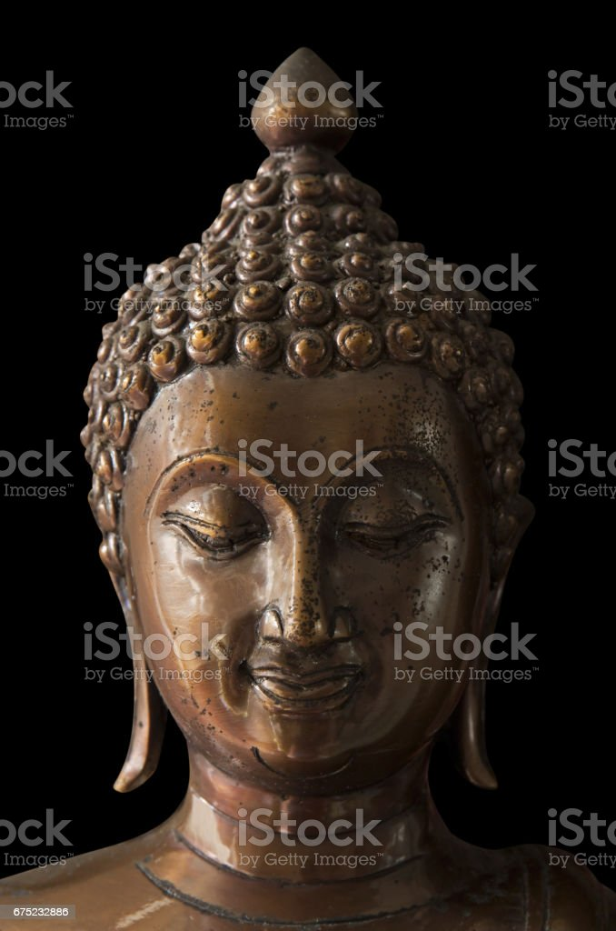 Closeup Antique Buddha Statue with Clipping Path royalty-free stock photo