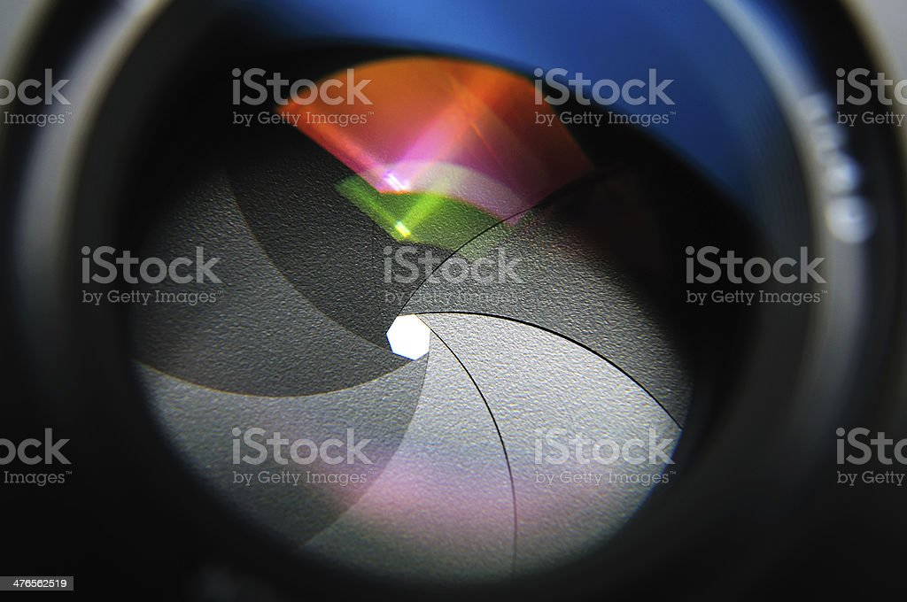 closeup aperture blades stock photo