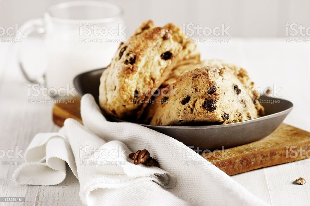 Closeup appetizing chocolate chip scones and glass of milk stock photo