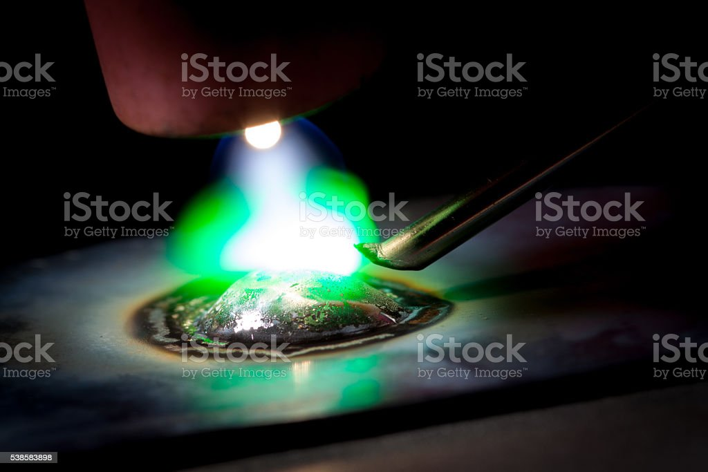 Close-up argon welding machine stock photo