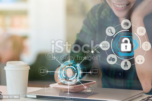 Closeup Asian businesswoman hand using the smart mobile phone with happiness action to Fingerprint scan for biometric authentication to unlock security, Business Technology sceurity Concept