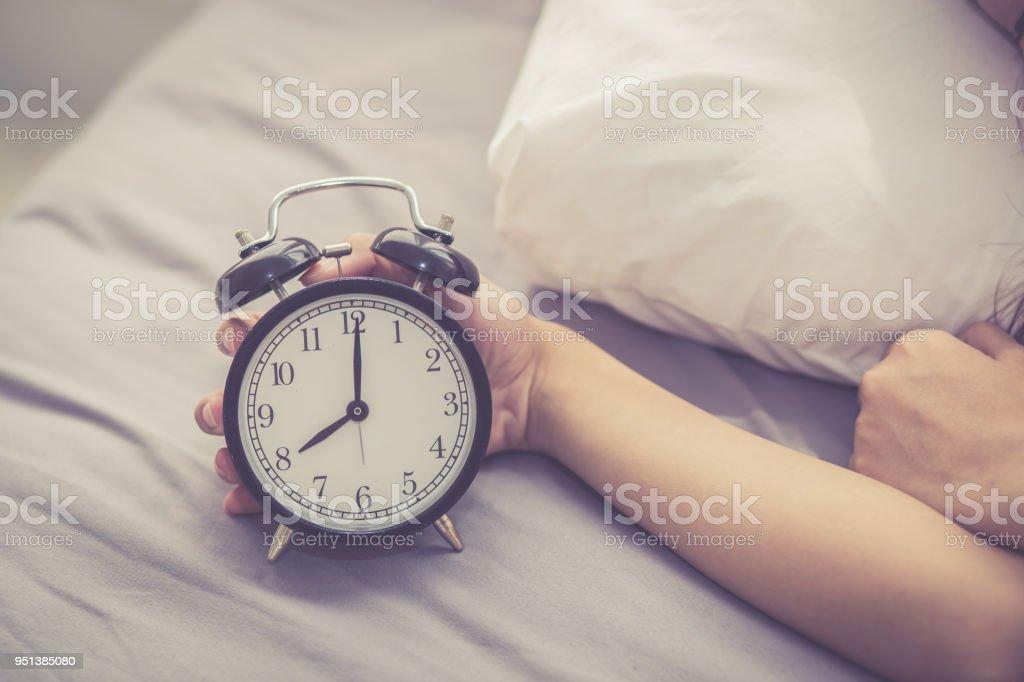 Closeup Asian Young Woman Turn Off Alarm Clock In Good Morning Wake Up For Sleep