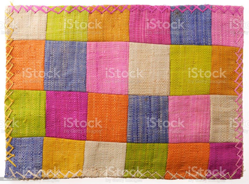 Closeup at colorful patchwork table mat stock photo