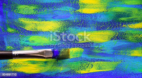 istock Closeup background of brush and palette 504891710