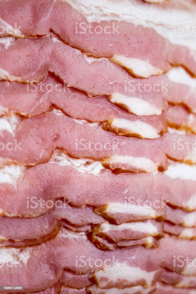 Close-up, background of raw bacon, stock photo