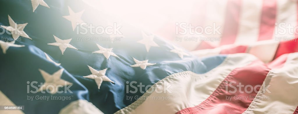 Close-up banner of american flag stars and stripes royalty-free stock photo