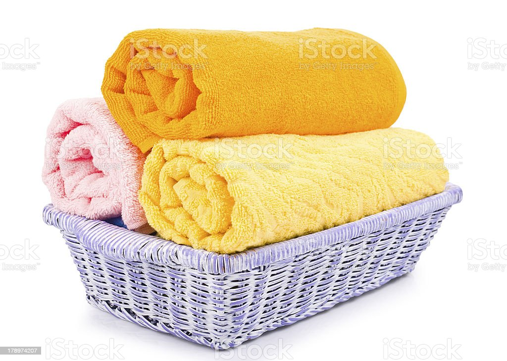 close-up basket of pure colorful towels royalty-free stock photo