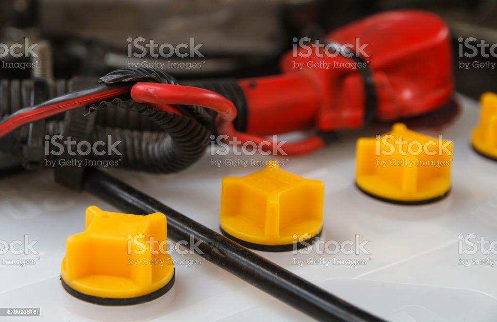 Closeup battery car. stock photo