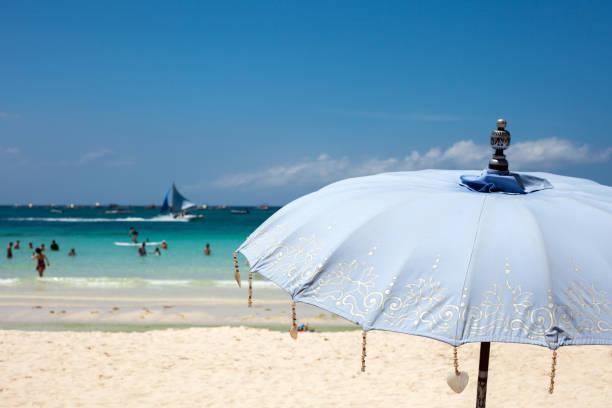 Close-up beach umbrella stock photo