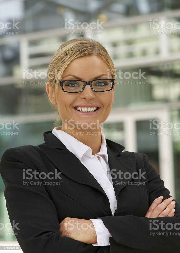 Close-up Beautiful businesswoman smiling with glasses royalty-free stock photo
