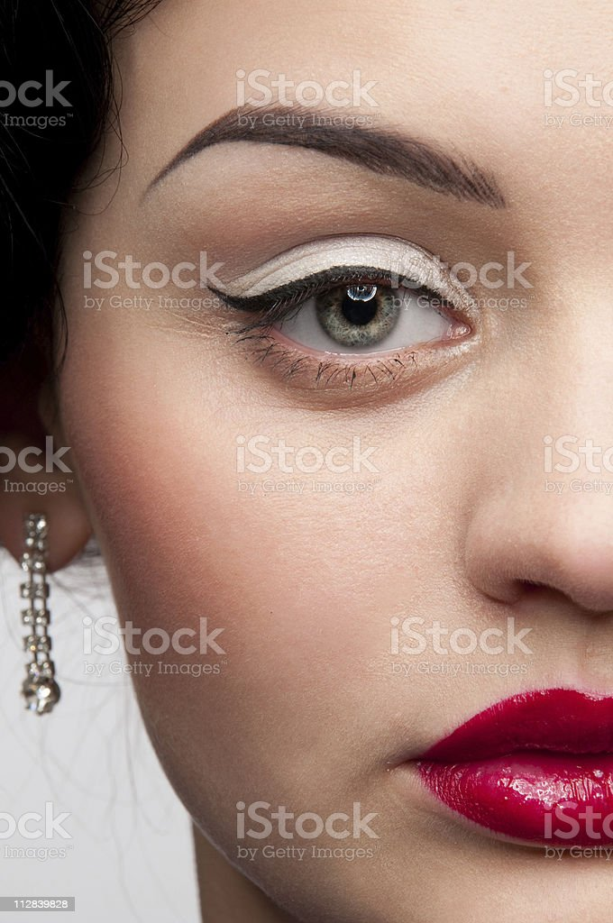 Closeup beautiful emotional glamour woman with red lips. Vogue royalty-free stock photo