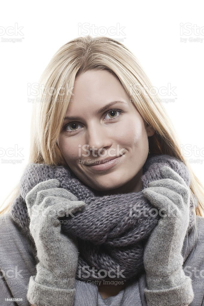 Close-up beautiful face of  woman with grаy sweater royalty-free stock photo