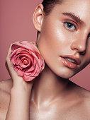 Close-up beautiful girl's face portrait