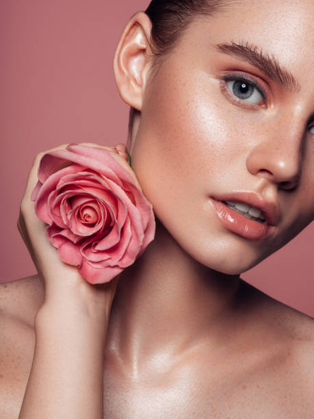Close-up beautiful girl's face portrait stock photo