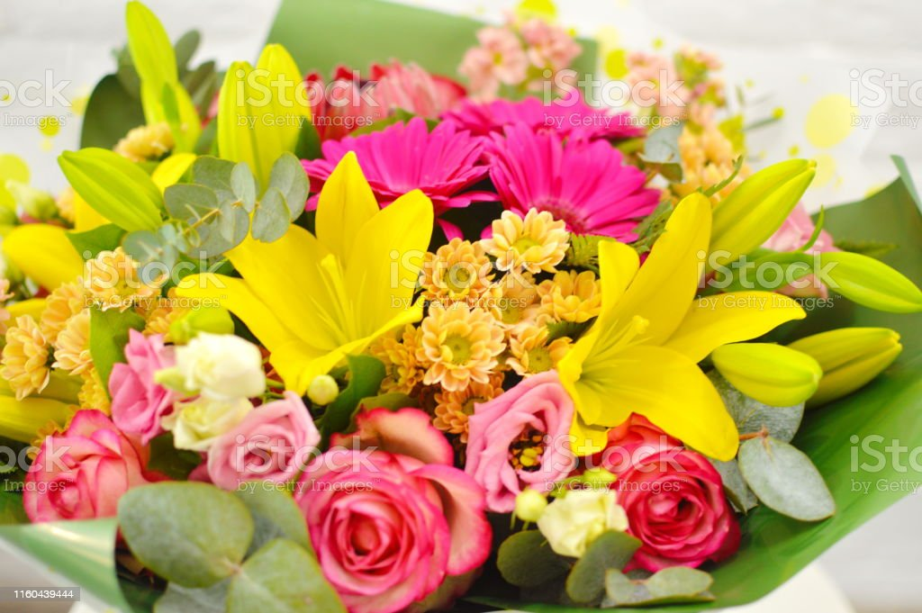 Closeup Beautiful Lovely Bouquet Of Mixed Flowers On White Table Stock Photo Download Image Now Istock