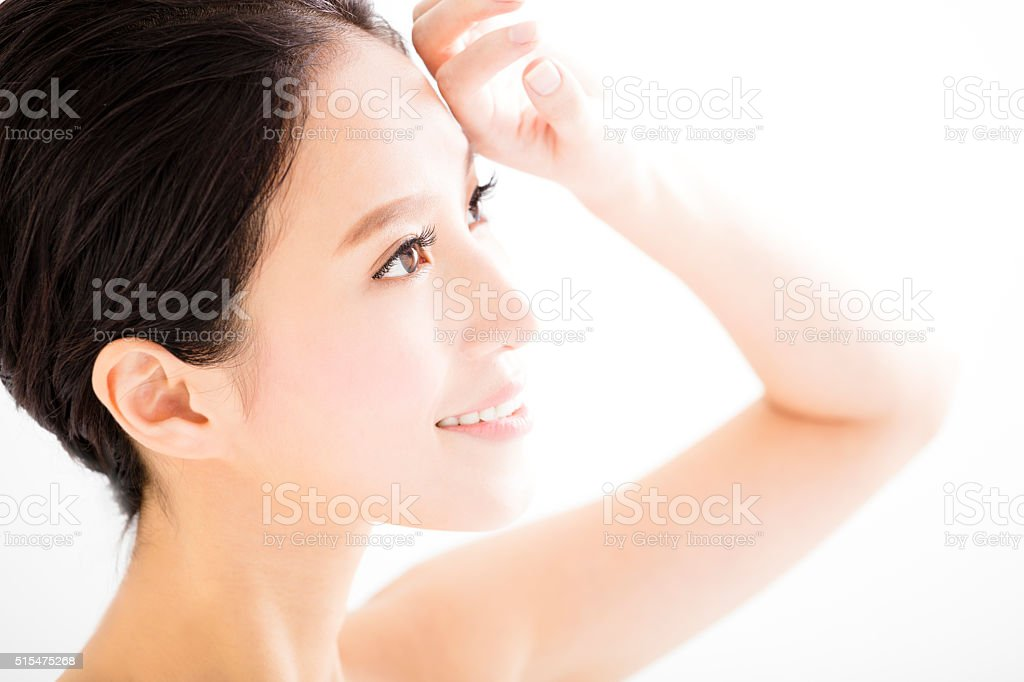 closeup beautiful young   woman  face stock photo
