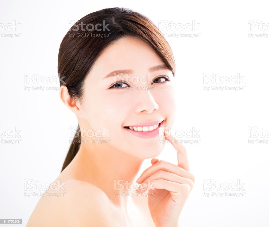 closeup beautiful young woman with clean face stock photo