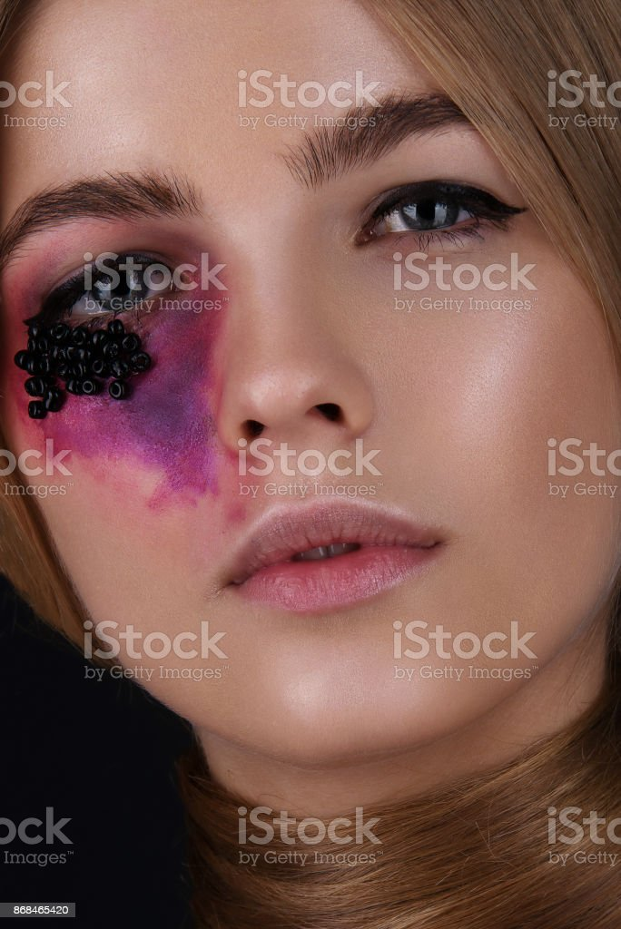 Closeup Beauty Portrait Of A Girl With A Creative Makeup Scary And
