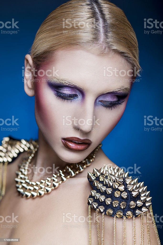close-up beauty portrait of a young caucasian woman royalty-free stock photo